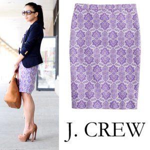J. Crew Purple Medallion No. 2 Pencil Skirt 2